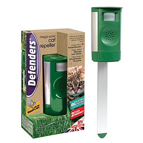 Defenders Mega-Sonic Cat Repeller (Ultrasonic, Motion Activated, Humane Cat Deterrent for Gardens, Battery or Mains Powered, Covers 120 sq m)