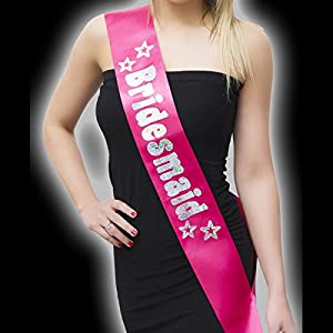 Alandra Party SASH-200-PINK - Pañuelo para dama de honor, unisex, color rosa y plateado, talla única
