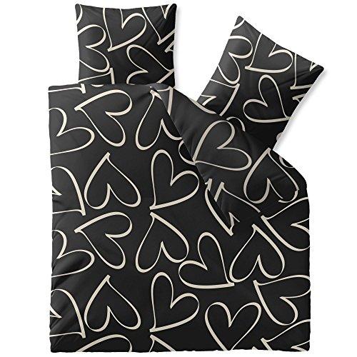 CelinaTex Fashion Bettwäsche Baumwolle 80×80 Kissenbezug Coeurs Schwarz Beige Grau Herz Liebe Love