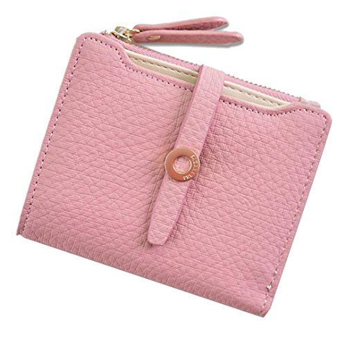 Trada Geldbörse Damen Leder, Portemonnaie Damen Mädchen Fashion Pumping Gürtelschnallen Short Style Damen Geldbörse Wallet Card Bag Geldbörse mit Geschenkbox (Hot Pink) Hot Kind-shorts