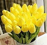 Cozyswan 10 pezzi PU Stunning Olanda mi tulipano vero tocco di fiori di nozze piante fiori artificiali di seta - Giallo