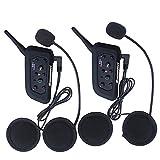 Excelvan - cuffie stereo e microfono interfono Bluetooth per moto, impermeabile compatibile con Casco per GPS, Musica e Cellulare
