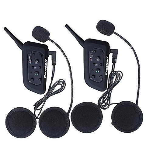 Excelvan V6 - 2xBluetooth Motorrad Intercom Headset Helm Communicator (1200M, GPS, EU-Ladegerät, Verbinden bis zu 6 Reiter ) schwarz