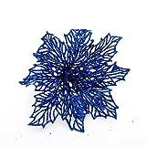 doublebulls décor 6 Stück Weihnachten Ausgehöhlter Künstliche Weihnachtsblumens, Weihnachtsbaumschmuck, Glitzernder, Blau Weihnachtssterne, 14Cm(5.5