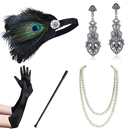 Coucoland 1920s Accessoires Set Damen Gatsby Kostüm Zubehör Set inklusive Stirnband Halskette Handschuhe Ohrringe Zigarettenhalter (Set-5) (Die 5 Beliebtesten Halloween-kostüme)
