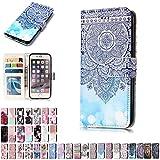 LA-Otter Coque Apple iPhone 7 Plus 8 Plus Mandala Bleu Flip Case Housse Etui à Rabat...