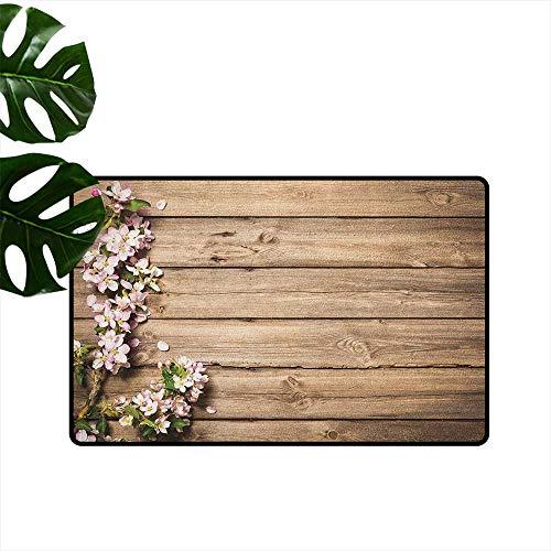 RenteriaDecor Teppich, rustikal, maschinenwaschbar, klein, spanischer Stil, dunkel gebeiztes Holz, Tür geheime Garten, mit Gitterfenster, Fußmatte für Kinderzimmer 36