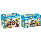 Pack Playmobil - 6685 - Ambulance avec gyrophare et sirène et Playmobil - 6686 - Hélicoptère médical