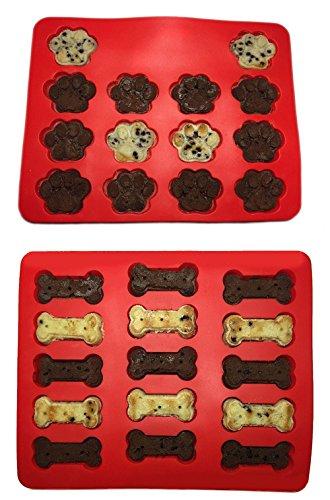 Sulifor 2 Lebensmittelqualität Welpen Haustier Hund Pfote Knochen Silikon Backform Kuchenform Keks (Süßigkeiten Knochen Geformt)