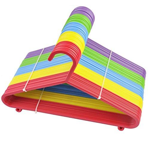 FiNeWaY® 40pcs bebé niños niños perchas de plástico gamuza de ropa Perchas de plástico, multicolor