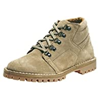 Mens D Ring Desert Boots Light Taupe Suede Leather & Tread Grip sole