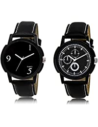 The Shopoholic Black Combo Stylist Designer Combo Pack 2 Black Dial Analog Watch For Boys Casual Watch For Boys