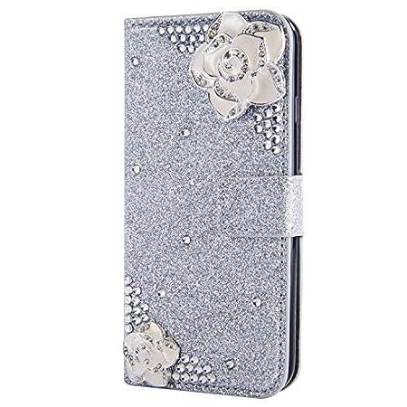 Stand Funktion für iPhone 11,Ledertasche Bling Glitter Glitzer Diamond Love Hearts Musterg Slim Retro Modisch…