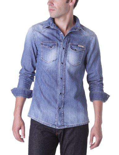 DN67 - Camicia, manica lunga, uomo Blu (Bleu (Aged))