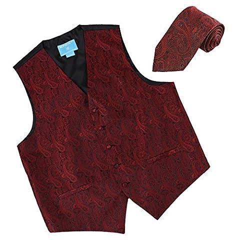 EGD1B02C-XL Rot Schwarz Paisley Microfiber Weihnachten Tuxedo Weste Neck Tie Set Handmade Fashion Von Epoint