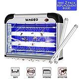 WADEO Lampe Anti Moustique Electrique Intérieur et Extérieur Tue Mouches 20W UV LED, Piège à Moustique Tueur pour Maison Bureau, avec 2 Ampoules de Rechange