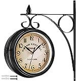 TecTake 800573 - Orologio da Parete Vintage Look, 2 Quadranti Ben leggibili da Lontano, Facile Montaggio - Disponibile in Diversi Colori (Nero   No. 402772)
