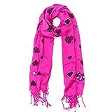 MANUMAR Schal für Damen | feines Hals-Tuch in pink lila mit Herz Motiv als perfektes Herbst Winter Accessoire | Klassischer Damen-Schal | Stola | Mode-Schal | Das ideale Geschenk für Frauen