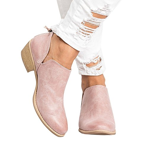 (Stiefel Damen Boots Winterschuhe Frauen Herbst Schuhe Mode Ankle Segelschuhe Leder Elegant Schuhe Kurze Stiefel Blockabsatz Boot ABsoar)