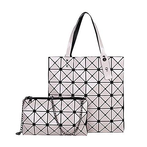 STRAWBERRYER Spring And Summer Sequins Geometric Lingge Ms. PVC Handbag Shoulder Messenger Bag,Creamy-white-OneSize