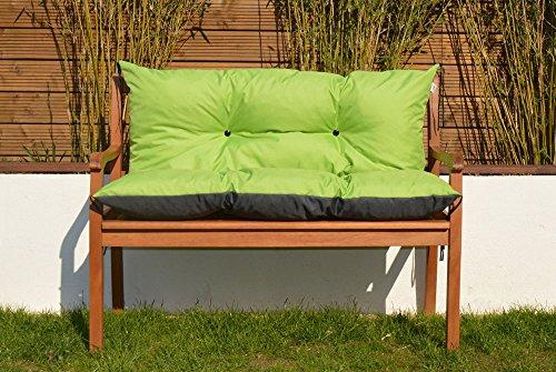 Gartenbankauflage Bankauflage Sitzpolster Bankkissen Sitzkissen und Rückenkissen Polsterauflage leicht zu reinigen (110 cm, Grün)