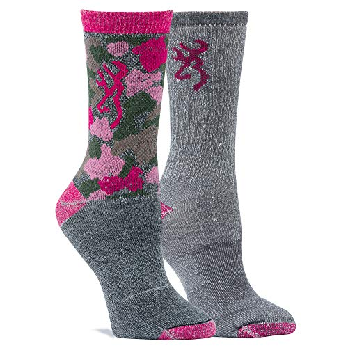 Camo Wool (Browning Damen Everyday Wool Camo Socken, Fuchsia, Medium)