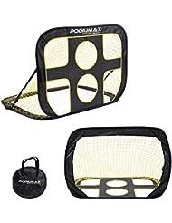 Podiumax Fußballtor selbstentfaltend klappbar mit Torwand für Training und Kinder, Pop Up Tor mit Tragetasche, Maße: 120 x 80 x 80 cm