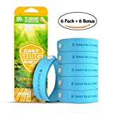 Mosquito Repellent Bracelets 6 Pack + 6 Bonus Bug Repellent Patches, All Natural Oil Bug Repellent, Easy to Deters Bugs for Hours, for Outdoor Travel and Indoor Protection, for Adults and Children