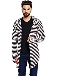 Chill Winston Maroon and White Stripe Hooded Cardigan With Thumb Insert For Men