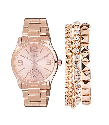 SIX Damen Schmuckset, Armbanduhr, 3 Armbändern, Box, roségoldene Farbe (19-990)