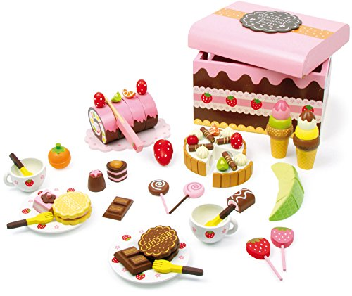 small foot 2847 Süßigkeitenkiste aus Holz, Zubehör für Kaufladen und Kinderküche mit Süßigkeiten, 39-tlg., ab 3 Jahren -