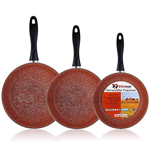 Magefesa Terracota - Set Juego 3 Sartenes 20-24-28 cm, inducción, antiadherente GRANITO libre de PFOA, limpieza lavavajillas apta para todas las cocinas, vitroceramica, gas, Fabricadas en España