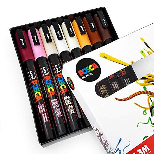 Uni Posca pc-3m Art Paint Markers-tonalità della pelle-Set di 8-in confezione regalo