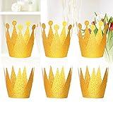 Amosfun Glitter Birthday Crown hasst Princess Party Liefert Bevorzugte Kronen Hut Dekorationen für Jungen Mädchen Kinder Erwachsene Golden