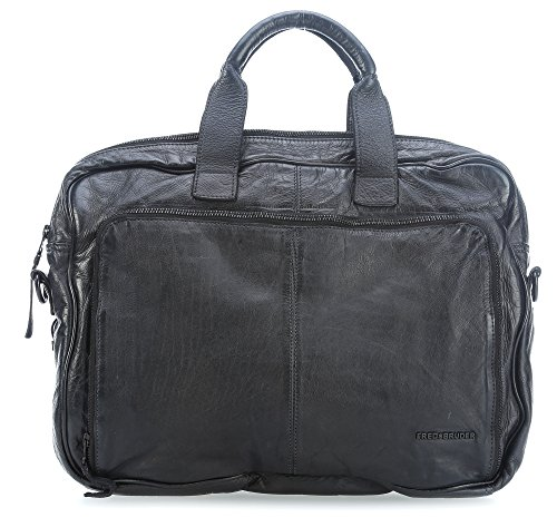 FREDsBRUDER Academy Ledertasche Businesstasche Henkeltasche dark camel I schwarz - 40x31x12 (B x H x T) (black) (Dark Bag Camel)