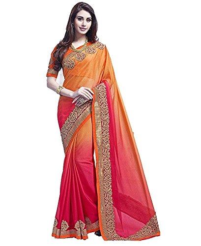 FabDiamond Women's Multi-Coloured Saree With Blouse Piece (Orange, Gerogette)