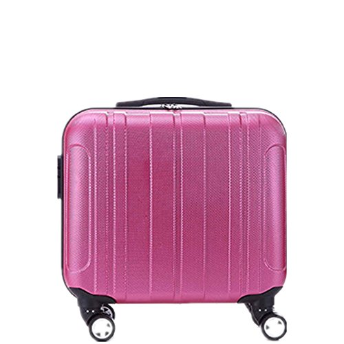 Hardside Business Cases (Owenyang Hardside Reisegepäck ABS Koffer Kinderkoffer Zugstange Box 16 Zoll Business Case Check-in Box Ideal für die Reise Spinner Wheels Gepäck (Farbe : Rosa))