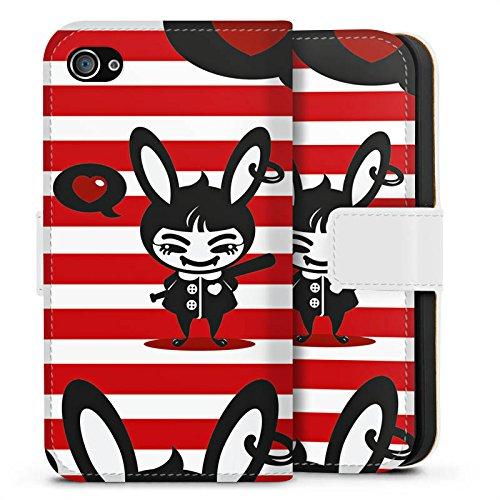 Apple iPhone X Silikon Hülle Case Schutzhülle Hase Bunny Streifen Sideflip Tasche weiß