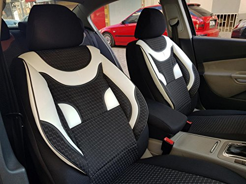 Sitzbezüge k-maniac | Universal schwarz-Weiss | Autositzbezüge Set Vordersitze | Autozubehör Innenraum | Auto Zubehör für Frauen und Männer | V436293 | Kfz Tuning | Sitzbezug | Sitzschoner