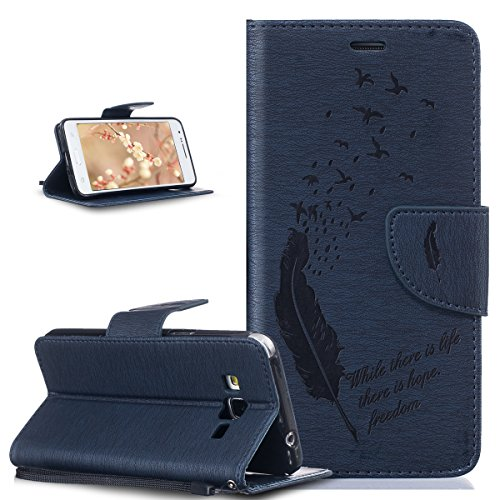 Coque Galaxy Grand Prime,Etui Galaxy Grand Prime, ikasus® Coque Galaxy Grand Prime Bookstyle Étui Housse en Cuir Case, Motif Gaufrage Plume Oiseaux Lettres Feather Motif Etui Housse Cuir PU Portefeuille Folio Flip Case Cover Wallet Coque Protection Étui avec Flex Soft Silicone TPU et Fonction Support Fermeture Aimantée Carte de crédit Logement Poches Case Coque Housse Étui pour Samsung Galaxy Grand Prime SM-G530H SM-G530F G530 - Oiseaux de plumes:Bleu marin