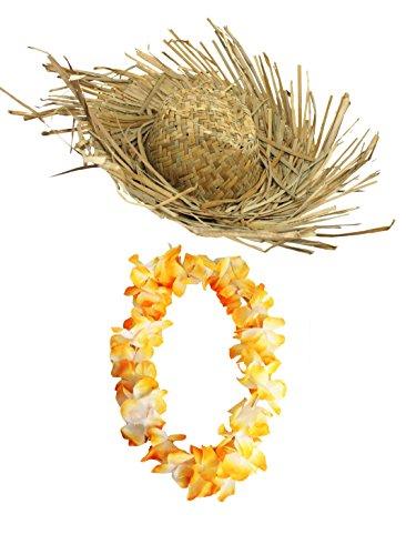 ILOVEFANCYDRESS Erwachsenen Hula-Party Strohhut mit Blumenkette, Die Blumenketten sind erhaltbar in 8 verschiedenen Farben=Strohhut mit Oranger Blumenkette