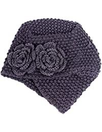 Cdet Sombrero de punto caliente gorro de cabello al aire libre lana flores otoño e invierno