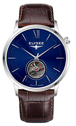Automatik-Analoguhr für Herren | Picus von Elysee | Herren-Armbanduhr für Business, Alltag uvm. | Quarzuhrwerk Uhr mit Lederarmband | Herrenuhr mit Datumsanzeige (braun/silber/blau)