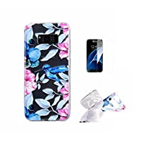 For Galaxy S8 Plus Case [With Tempered Glass Screen Protector],Fatcatparadise(TM) Anti Scratch Transparent Soft Silicone Cover Case ,Colorful Cute Pattern Ultra Slim Flexible Non-Slip Design TPU Protective [Crystal Clear] Shell Bumper Case Prefect Fit For