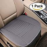 Auto Sitzpolster für Auto Auto Bürostuhl - Breathable Auto Innen Sitz Sitzkissen mit PU Leder Bambus Holzkohle (1 Pack, grau)