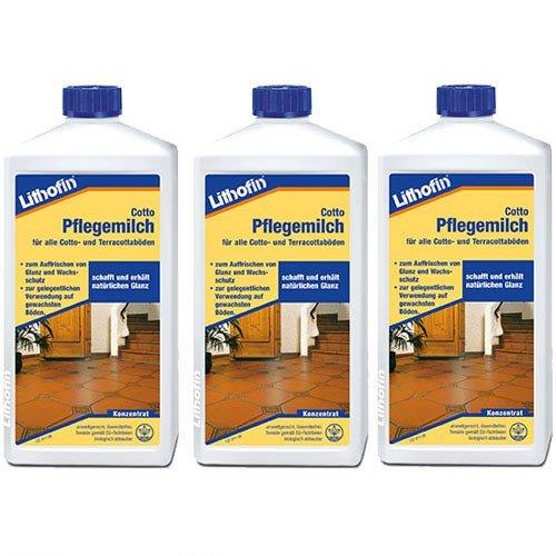 3x Lithofin Cotto Pflegemilch - Terracotta Boden - Glanzschutz - Wachsschutz - 1 Liter - lösemittelfrei (Multi Pure Wasser)