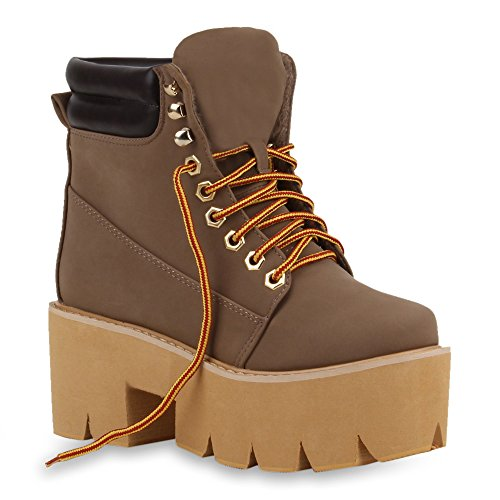 Damen Stiefeletten Plateau Boots Chunky Heels Profilsohle Khaki