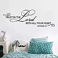 Religious Wall Quote Letters Trust in the Lord with all your heart DIY Art Carved Wall Sticker Home Wall Decor