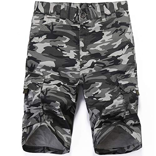 LY4U Männer Taktische Multi Pocket Camouflage Shorts Loose Fit Baumwolle Fracht Lässige Mode Shorts -