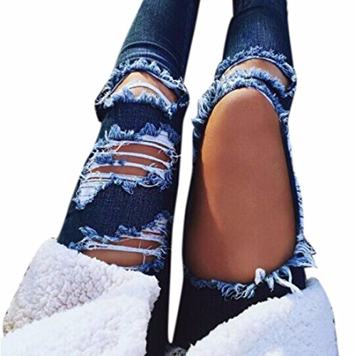 Uomogo® donna jeans pantaloni larghi push up strappati rotti matita jean morbidi vita alta (asia s, blu)
